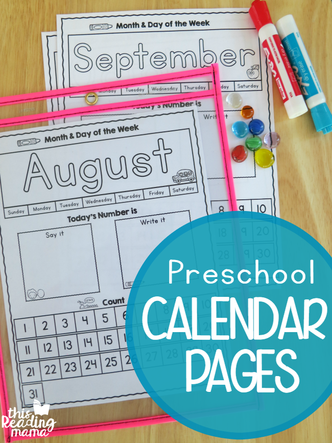 Kindergarten Calendar Interactive Whiteboard : Preschool calendar pages free this reading mama