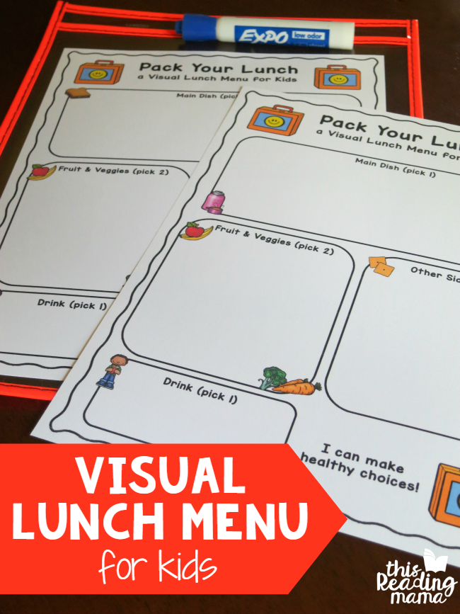 graphic regarding Printable Menus identified as Visible Lunch Menu for Youngsters totally free printable - This Looking at Mama