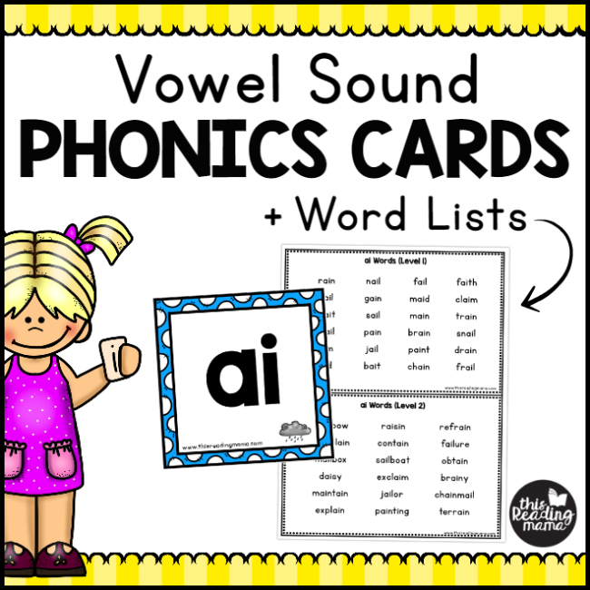 Vowel Sound Phonics Cards + Word Lists - This Reading Mama