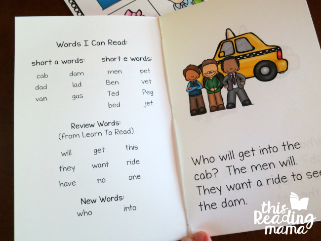 inside of Short a - Short e Phonics Reader from Learn to Read