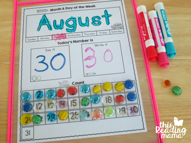 interactive preschool calendar page completed