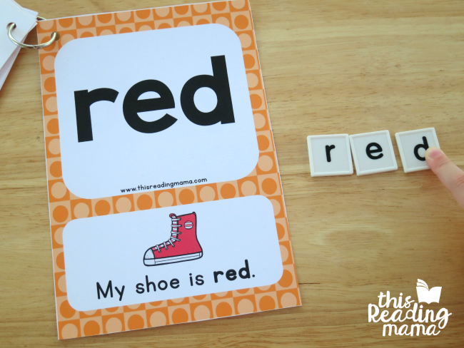 spelling sight words from cards with letter tiles - level 1