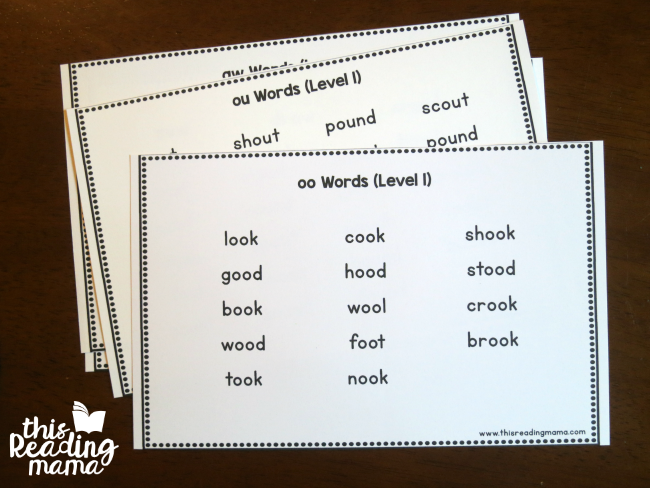 word lists for vowel chunking cards