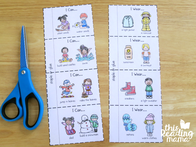 4 seasons flip book pages for younger learners