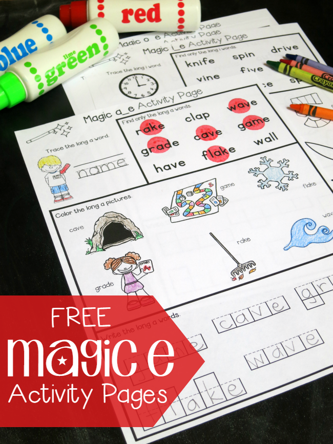 Free Magic e Activity Pages for CVCe Words - This Reading Mama