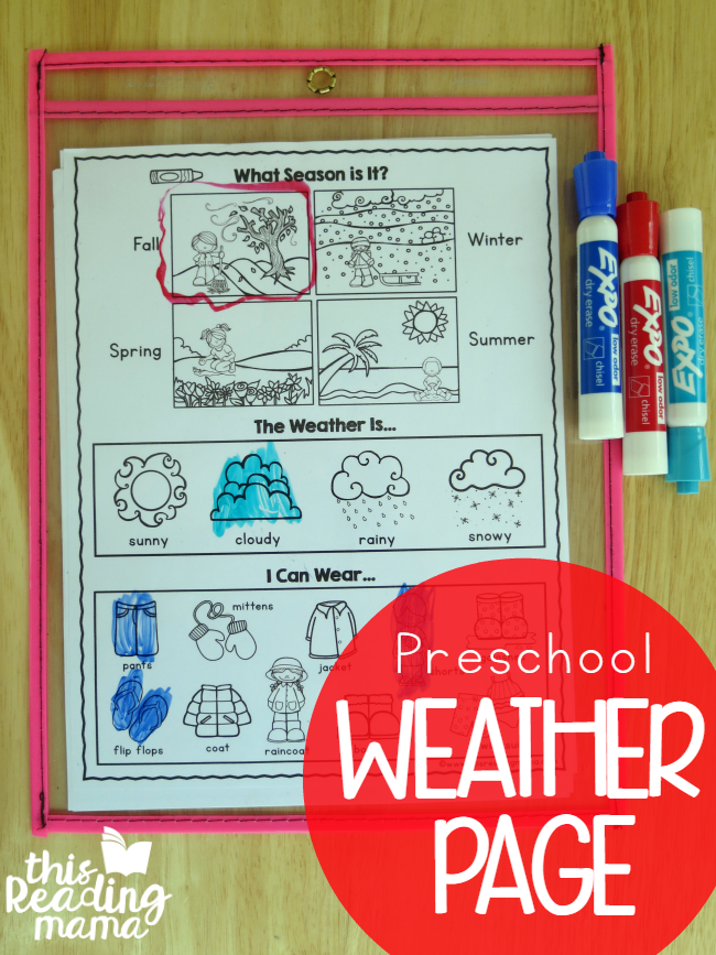 Free Preschool Weather Page - This Reading Mama