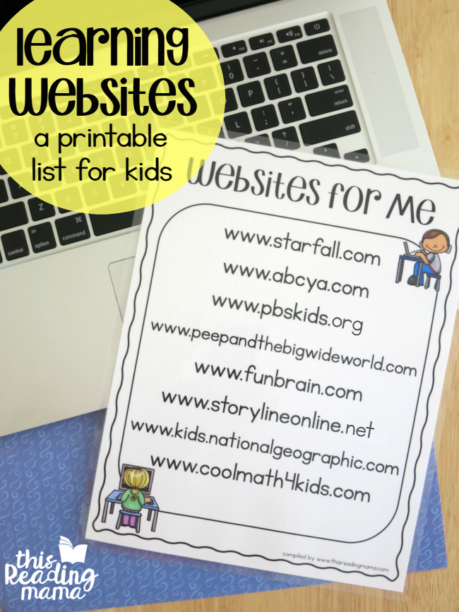 FREE Printable Learning Websites List for Kids - compiled by This Reading Mama
