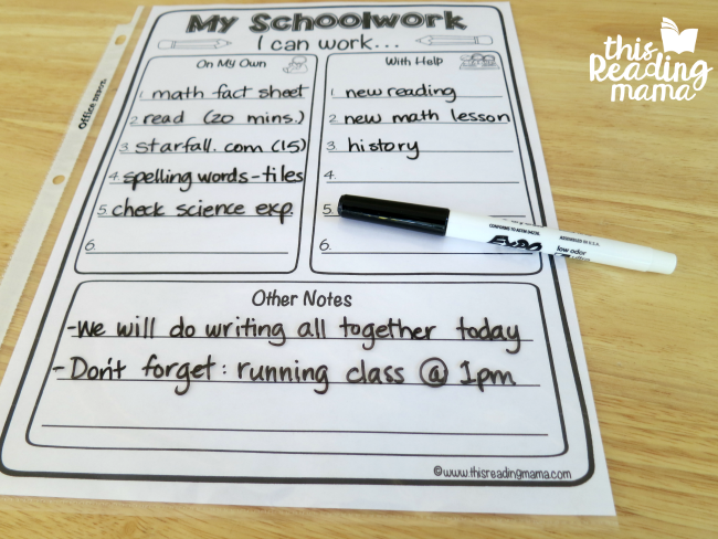 My Schoolwork planner for kids - write their assignments in each place