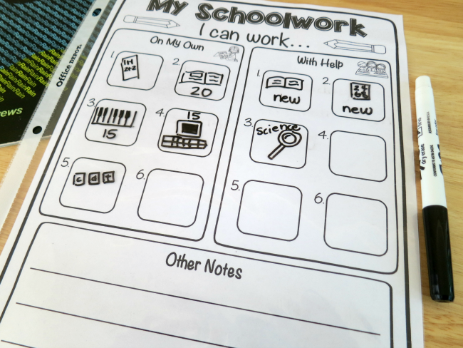 Picture-based Schoolwork Planner for young learners
