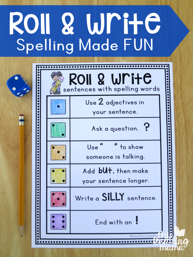 Roll & Write Sentences with Spelling Words