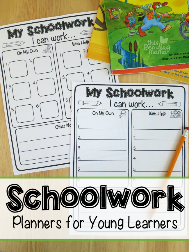 Schoolwork Planners for Young Learners - free printable - This Reading Mama