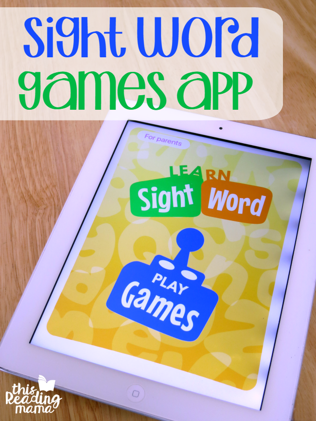 Sight Word Games App from This Reading Mama - customize sight word lists for each player!