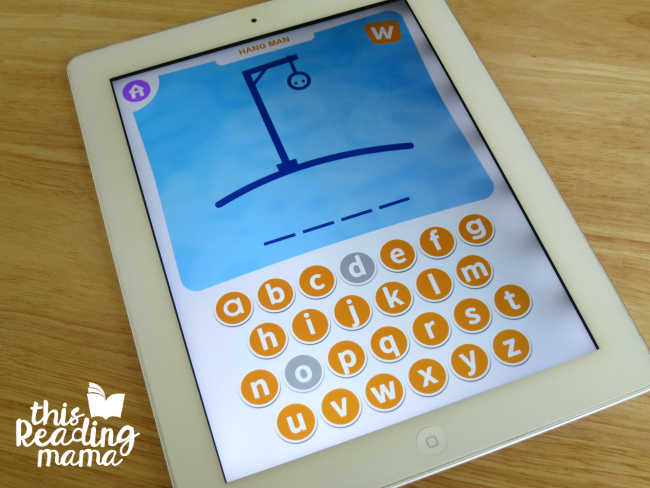 Sight Word Hang Man game on sight word games app