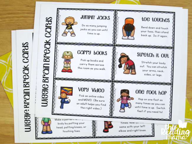 wiggle brain break cards