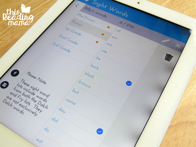 choosing sight word lists for each player on sight word games app