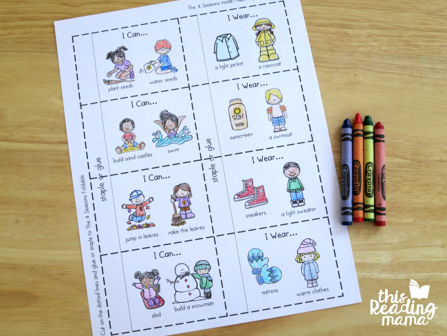 coloring the pages of the 4 seasons flip book
