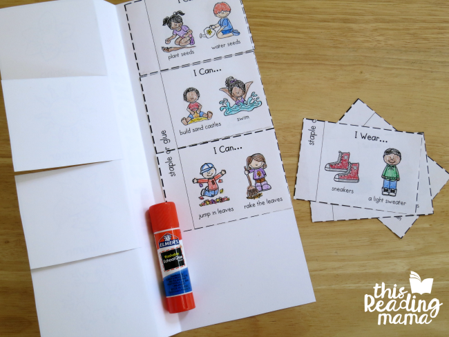 gluing pages of 4 seasons flip book