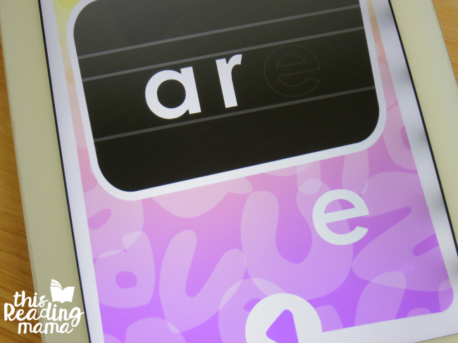 unscramble the sight word in learn section of sight word app