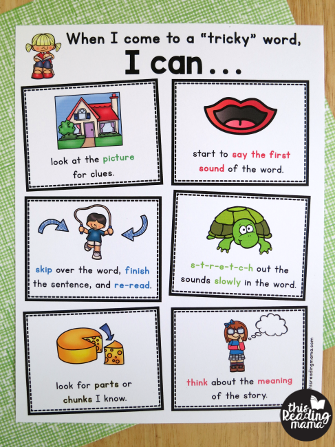 word attack strategies page for beginning readers