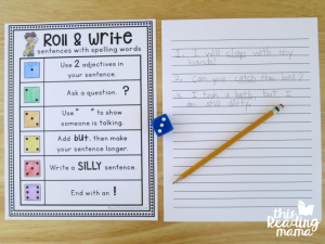 writing sentence with spelling words with roll write activity page