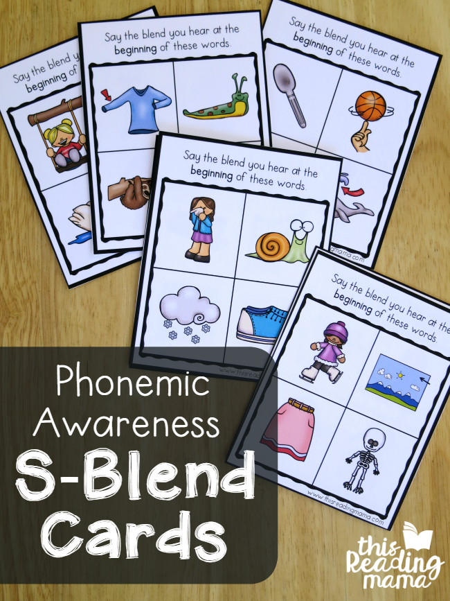 Phonemic Awareness Cards for S-Blends