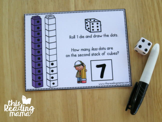 How Many Less? Task Card Example from This Reading Mama