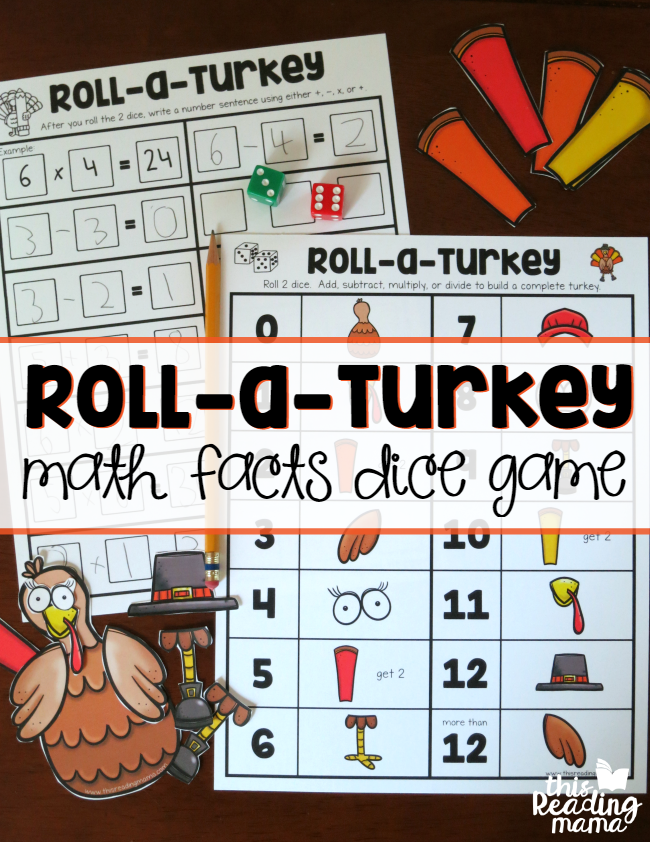 Roll a Turkey Math Facts Dice Game - This Reading Mama