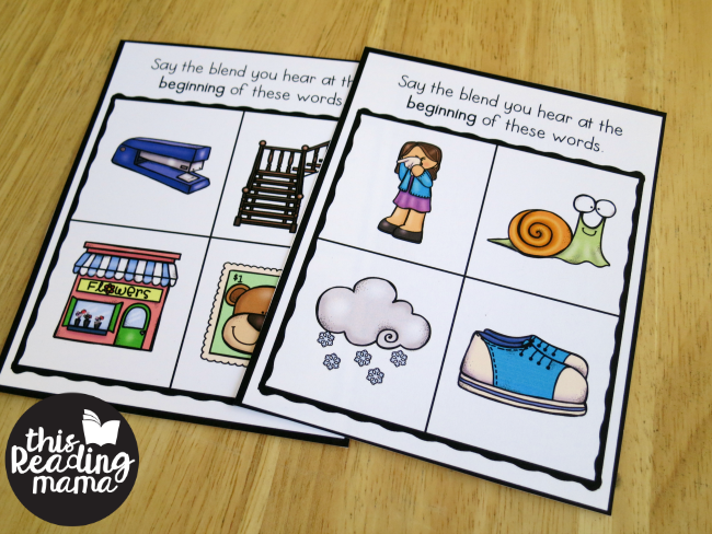 s-blends phonemic awareness cards - fronts