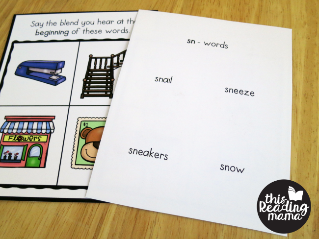 beginning s-blends phonemic awareness cards - print words on back