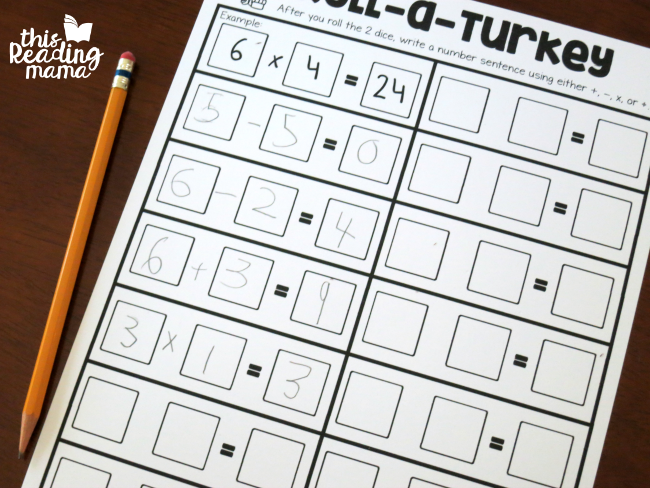 recording number sentences from roll a turkey math facts dice game