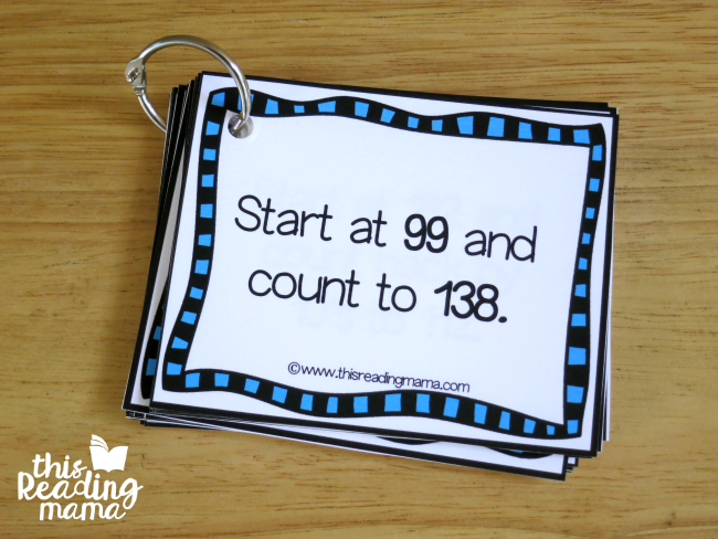 rote counting cards - make a flip book