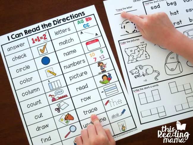 using the chart to read directions on the activity page