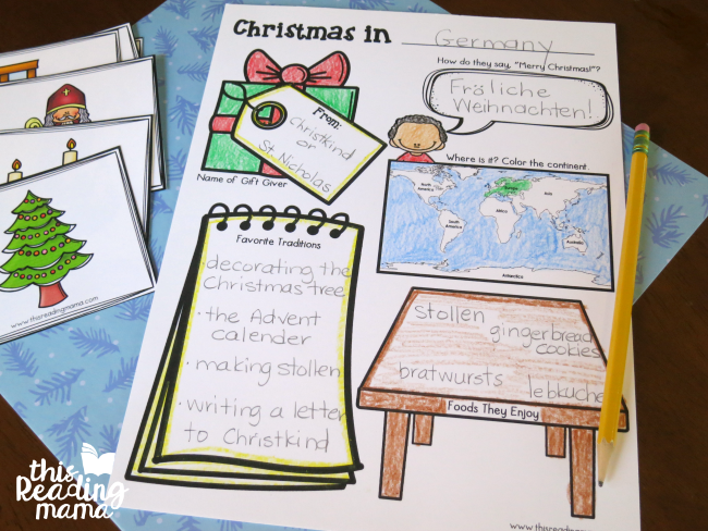 Christmas Around the World Activity Page example - This Reading Mama