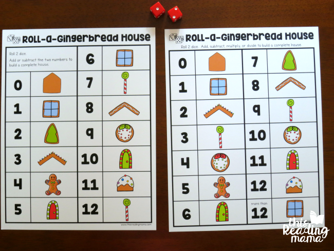 level 1 and level 2 boards from Roll-a-Gingerbread House Math Game from This Reading Mama