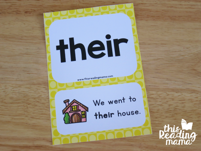 second grade sight word sentence card example - their