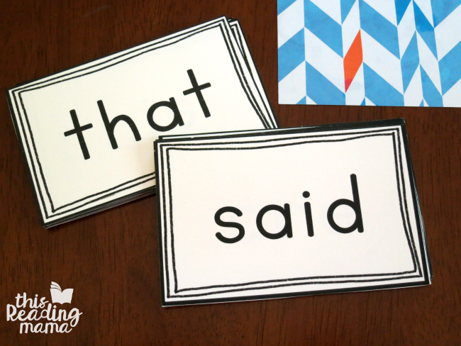 separating sight word cards by the two kinds of sight words