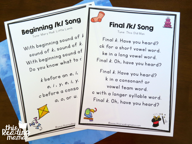 Spelling the k Sound Songs to Remember Spelling Patterns