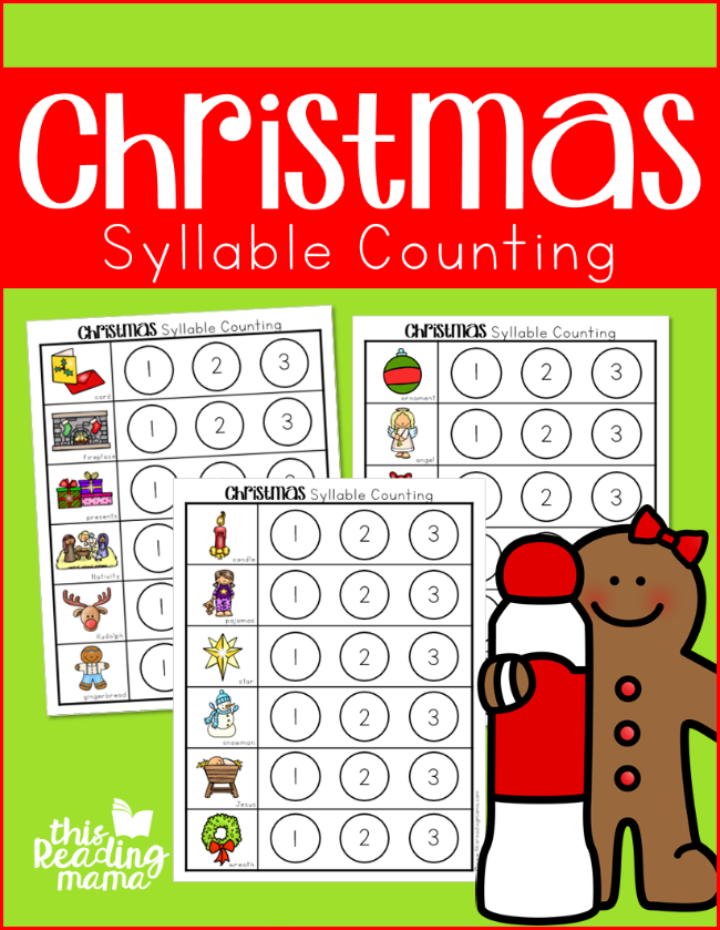 Christmas Syllable Counting Dot Pages - This Reading Mama