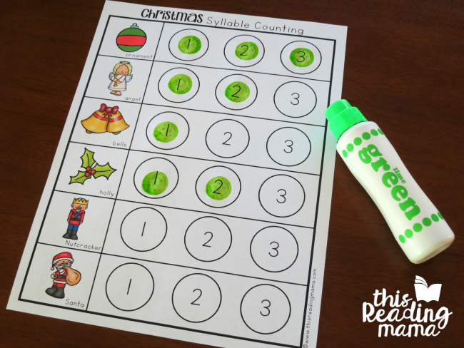 FREE Christmas Syllable Counting Dot Pages