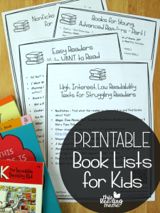 Printable Book Lists for Kids