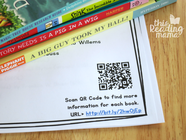QR code and URL included on all printable book lists for kids