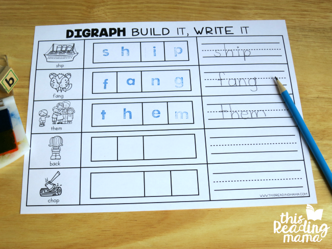build and write digraph mats with letter stamps and pencil