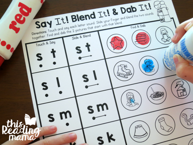 dab the beginning blends worksheets