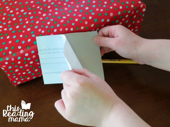 print gift tags on shipping labels to peel and stick on presents