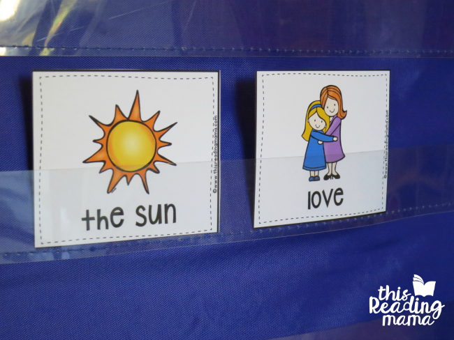 two extra wants vs needs picture cards - sun and love
