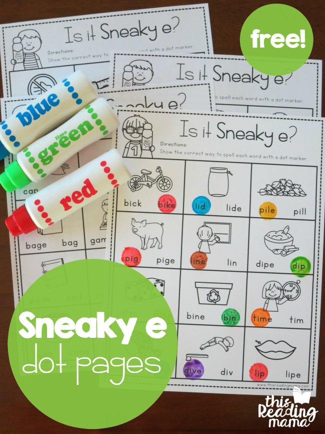 FREE Sneaky e Dot Pages - This Reading Mama