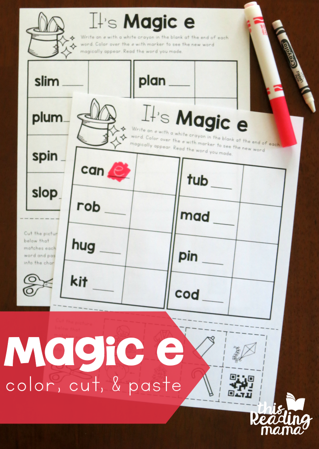 Magic e Color, Cut, and Paste Pages - plus more! - This Reading Mama
