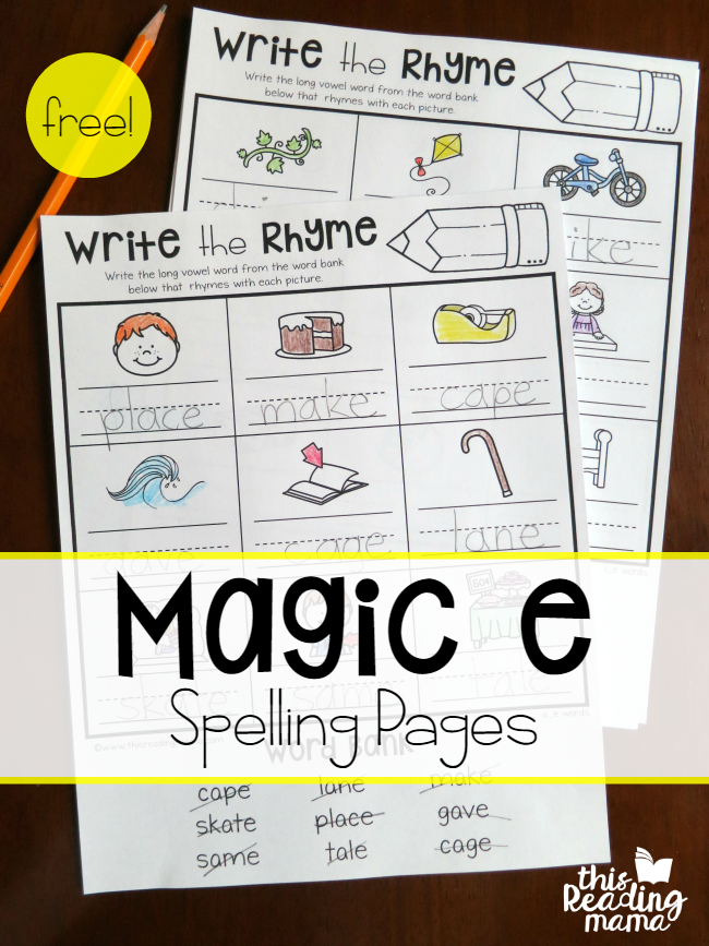 Magic e Spelling Pages {free} - Write the Rhyme - This Reading Mama
