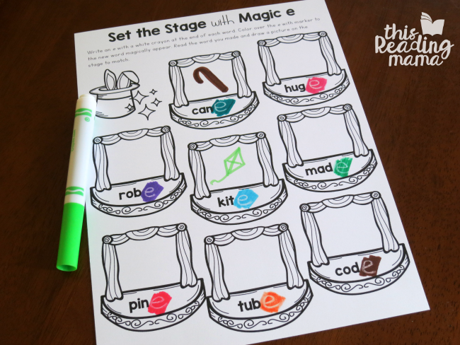 Magic e Words Color and Draw Page