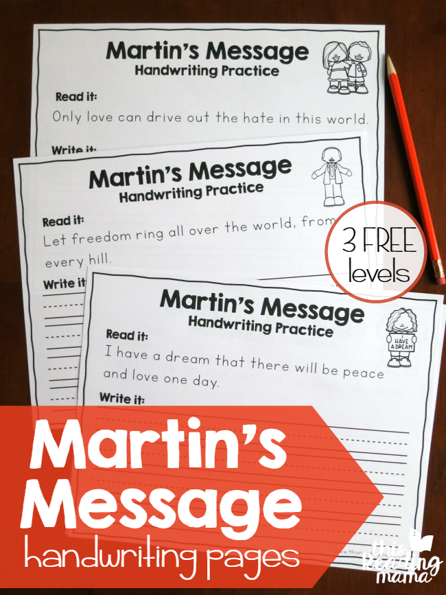 Martin Luther King Jr Handwriting Pages - free This Reading Mama